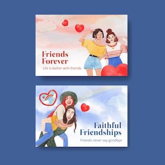Modelo do facebook com conceito do dia nacional da amizade, estilo aquarela