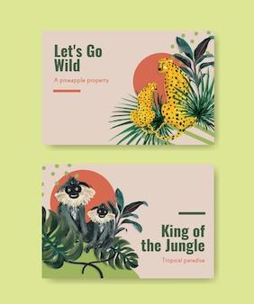 Modelo do facebook com design de conceito contemporâneo tropical para mídia social e ilustração em aquarela de marketing online