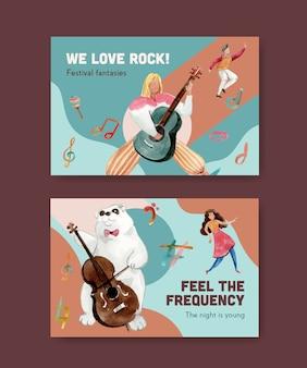 Modelo do facebook com design de conceito de festival de música para mídia social e ilustração vetorial aquarela comunitária