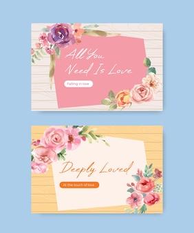 Modelo do facebook com design de conceito de florescência do amor para mídia social e ilustração em aquarela da comunidade online