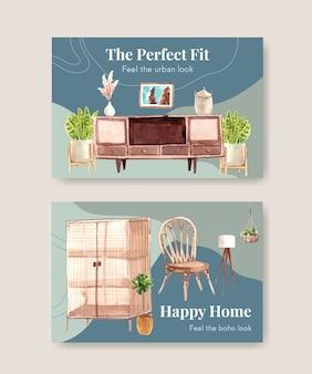 Modelo do facebook com design de conceito de móveis boho para mídia social e marketing online ilustração aquarela