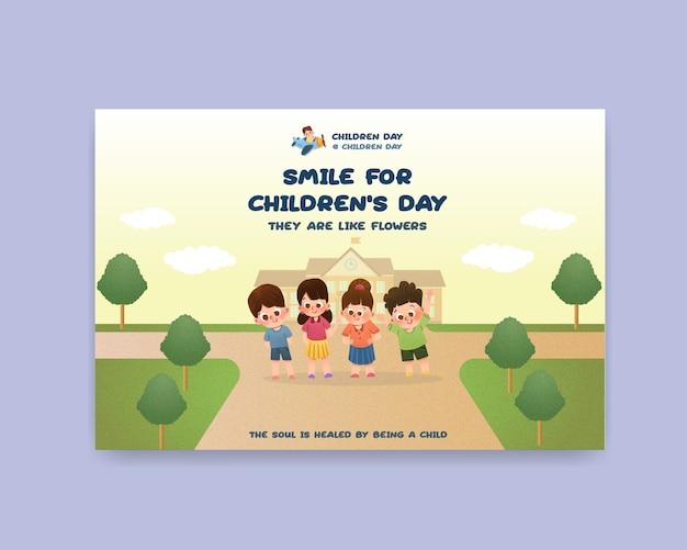 Modelo do facebook com design de conceito do dia das crianças