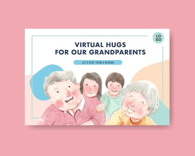 Modelo do facebook com design de conceito do dia nacional dos avós para mídia social