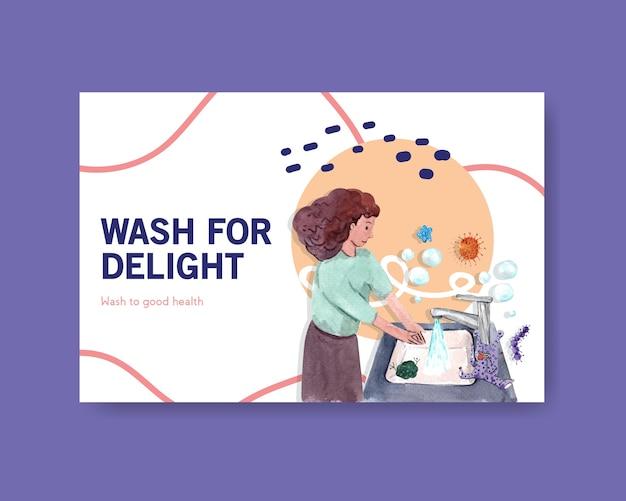 Modelo do facebook com design de conceito global do dia da lavagem das mãos