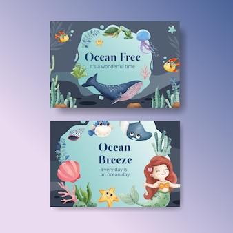 Modelo do facebook com o estilo do oceano encantado com aquarela
