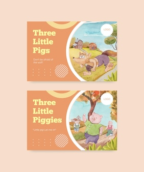 Modelo do facebook com três porquinhos fofos, estilo aquarela