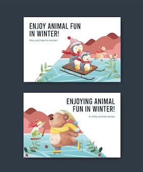 Modelo do facebook de animais de inverno