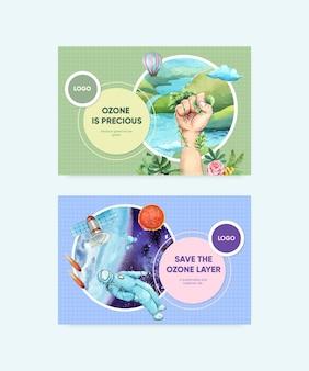 Modelo do facebook definido com o conceito do dia mundial do ozônio, estilo aquarela