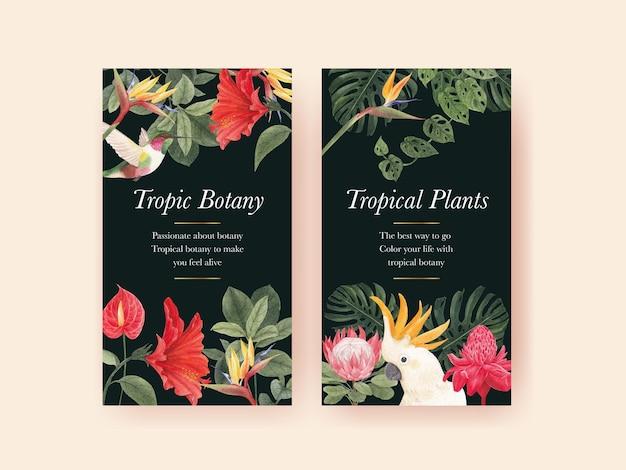 Modelo do instagram com conceito de botânica tropical, estilo aquarela