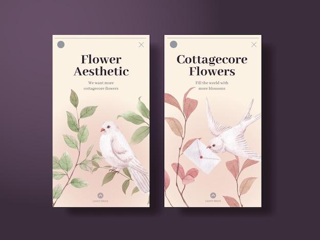 Modelo do instagram com conceito de flores cottagecore, estilo aquarela