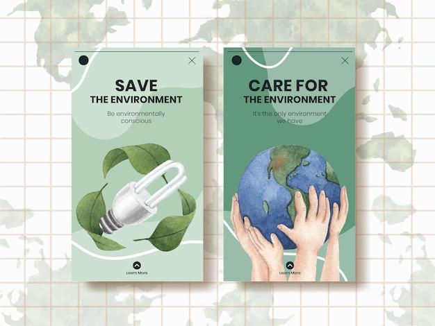 Modelo do instagram com conceito do dia mundial do meio ambiente, estilo aquarela