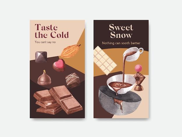 Modelo do instagram com design de conceito de inverno de chocolate para marketing online e ilustração em aquarela de mídia social