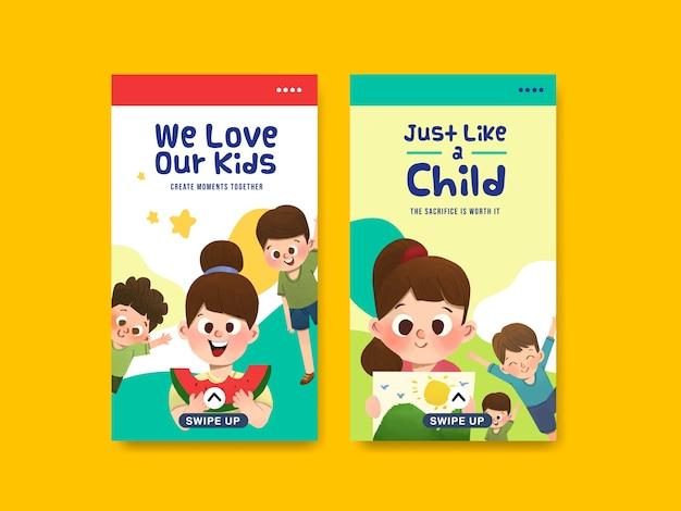 Modelo do instagram com design de conceito do dia das crianças