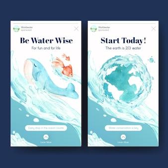 Modelo do instagram com design de conceito do dia mundial da água para ilustração em aquarela de mídia social