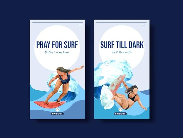 Modelo do instagram com pranchas de surf na praia para ilustração em vetor aquarela tropical de férias de verão