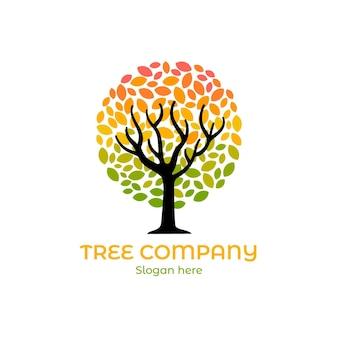 Modelo do logotipo da árvore da natureza da empresa gradiente colorido