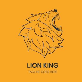 Modelo do logotipo da cabeça do leão. logotipo criativo desenhado à mão