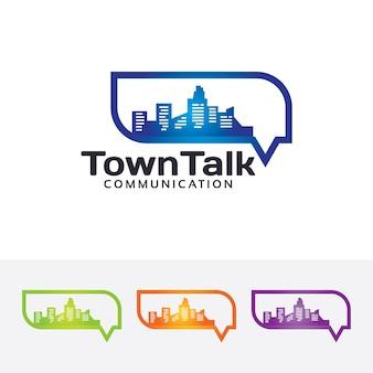 Modelo do logotipo da conversa da cidade