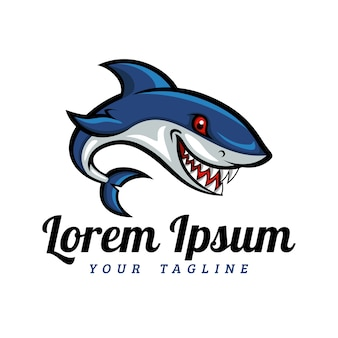 Modelo do logotipo da mascote do tubarão dos desenhos animados