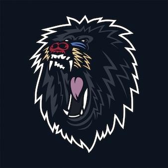 Modelo do logotipo da mascote dos jogos do babuíno do macaco