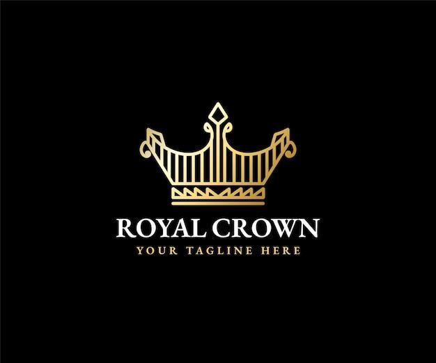 Modelo do logotipo da rainha da coroa real rei majestosa diadema e silhueta de tiara de luxo para marcas vip Vetor Premium