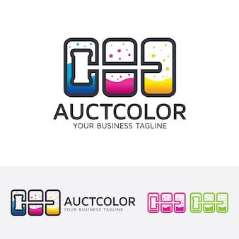 Modelo do logotipo do color do leilão
