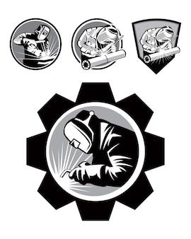 Modelo do logotipo do emblema soldador