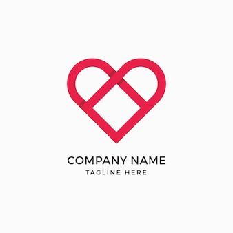 Modelo do logotipo do quadrado do coração