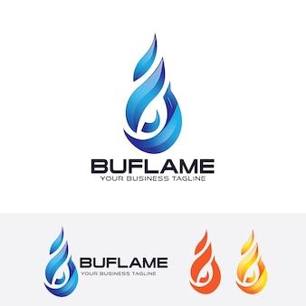 Modelo do logotipo do vetor da chama azul