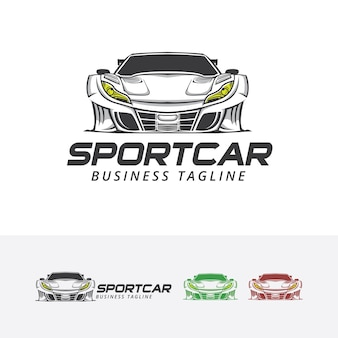 Modelo do logotipo do vetor da ilustração do carro desportivo