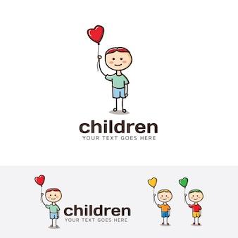 Modelo do logotipo do vetor das crianças