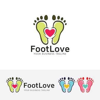 Modelo do logotipo do vetor do amor do pé