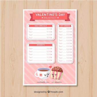 Modelo do menu do dia dos namorados