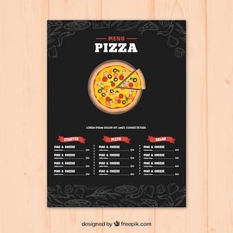 Modelo do menu do restaurante no estilo desenhado à mão