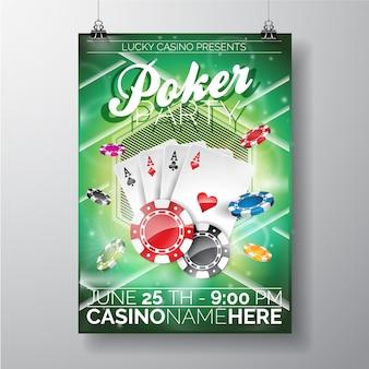 Modelo do poster do partido do póquer