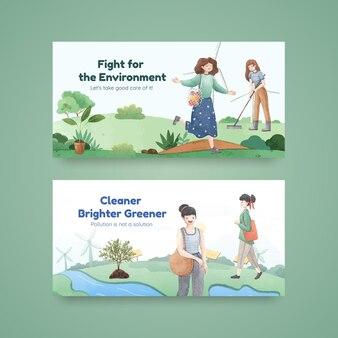 Modelo do twitter com conceito do dia mundial do meio ambiente, estilo aquarela