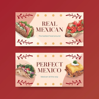 Modelo do twitter com ilustração em aquarela de design de conceito de culinária mexicana