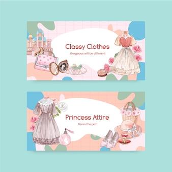 Modelo do twitter com roupa de princesa, estilo aquarela