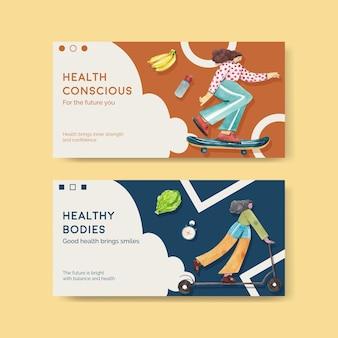 Modelo do twitter para o dia mundial da saúde em estilo aquarela