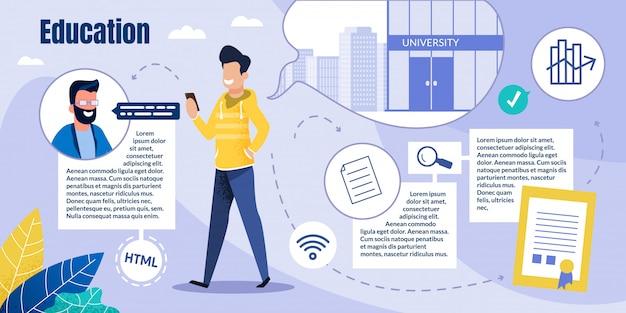 Modelo do web - estudante cara obtém educação on-line