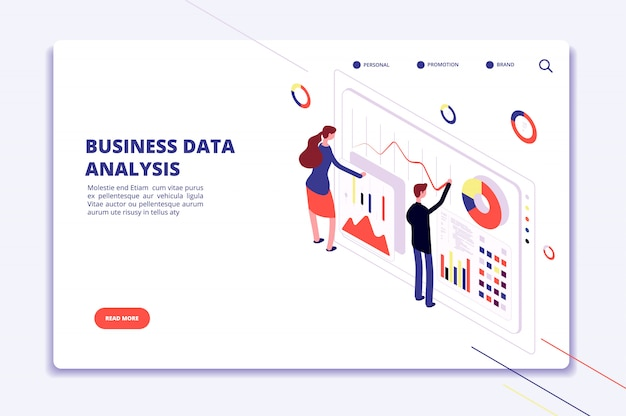 Modelo do web - pessoas que trabalham em gráficos de finanças de negócios