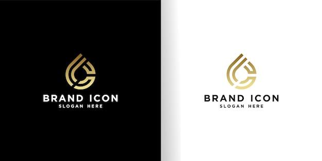 Modelo dourado de design de logotipo bc