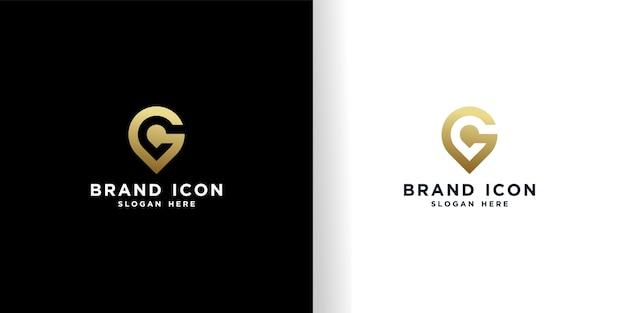 Modelo dourado de design de logotipo de localização g