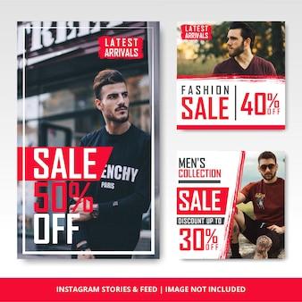Modelo e banner de venda de moda masculina e instagram do instagram