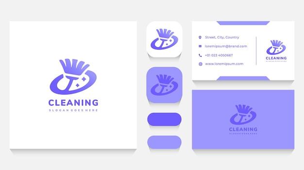 Modelo e cartão de visita do logotipo da cleaning mop world