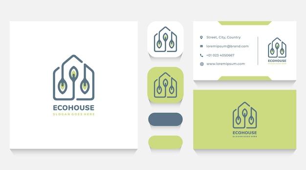 Modelo e cartão de visita do logotipo da eco house
