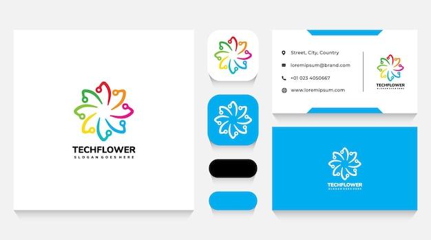 Modelo e cartão de visita do logotipo da flor da tecnologia