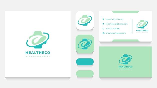 Modelo e cartão de visita do logotipo da leaf and herbal health