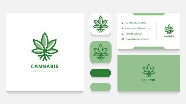 Modelo e cartão de visita do logotipo da planta de cannabis verde