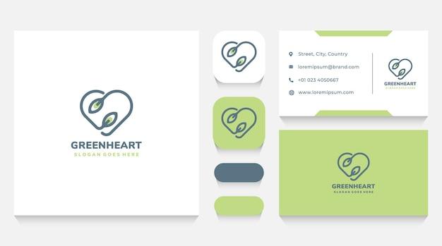 Modelo e cartão de visita do logotipo do coração e da folha